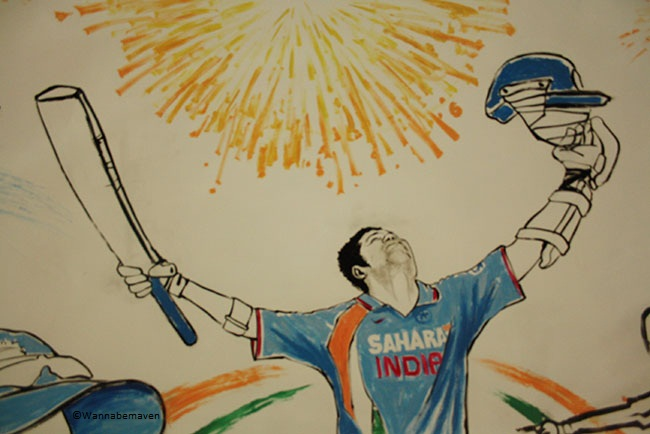 A Sachin Tendulkar caricature - sahara cricket gaurav point