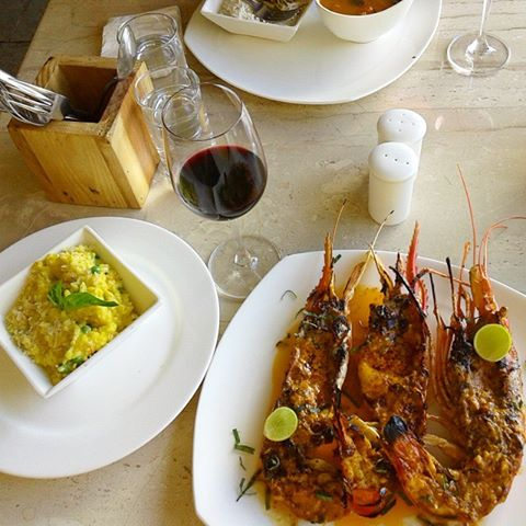 Sula Vineyards tour nashik - grilled scampi at soleil by la plage